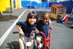Kinder Kids Christian Preschool helps kids become friends.